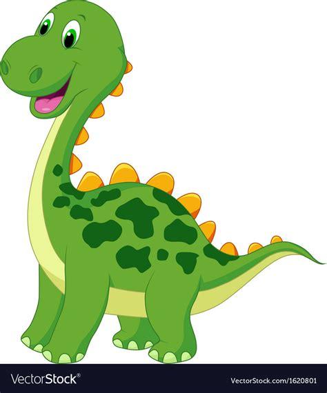 Cute green dinosaur cartoon Royalty Free Vector Image