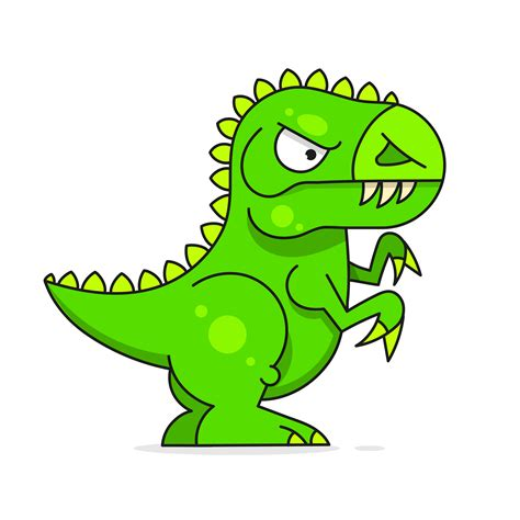 Cute Green Dinosaur Isolated On White Background. Funny ...