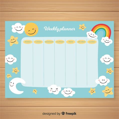 Cute hand drawn weekly schedule template | Free Vector