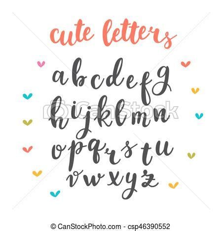 Cute letters. hand drawn calligraphic font. lettering ...