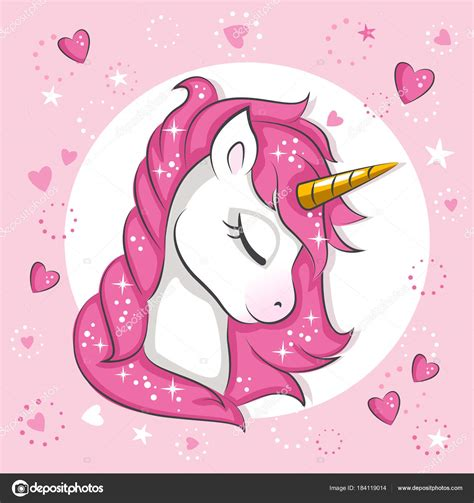 Cute Little Pink Magical Unicorn Vector Design White ...