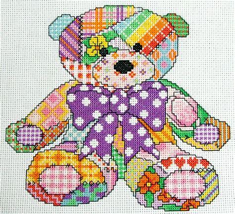 Cute Patchwork Teddy Bear Cross Stitch Pattern, Instant ...