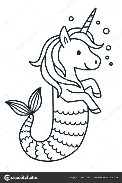 Cute unicorn mermaid vector coloring page cartoon ...