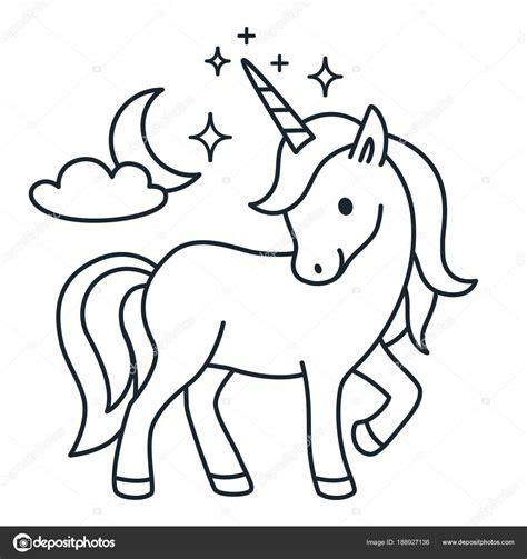Cute unicorn simple cartoon vector coloring book ...