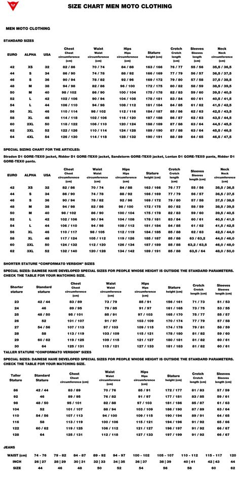 Dainese Motorcycle Suit Sizing Chart | disrespect1st.com