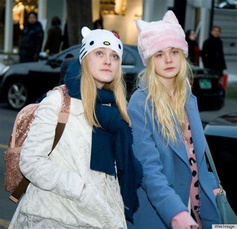Dakota & Elle Fanning Wear Matching Kitten Ear Hats In ...