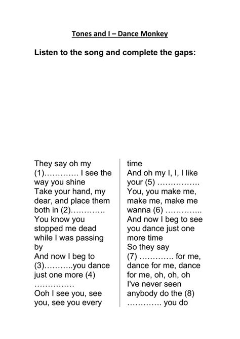 Dance Monkey Lyrics   Interactive worksheet