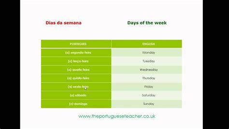 Days of the Week in Portuguese   Dias da semana em ...