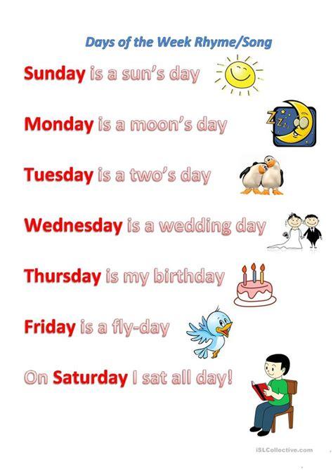 Days of the week rhyme/song worksheet   Free ESL printable ...