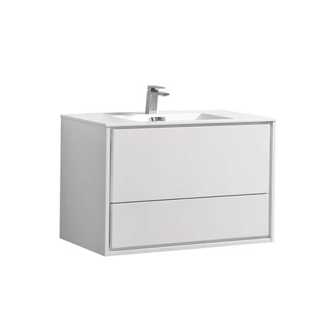 De Lusso 36  High Glossy White Wall Mount Modern Bathroom ...