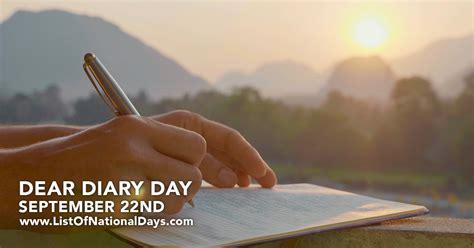 DEAR DIARY DAY   List Of National Days
