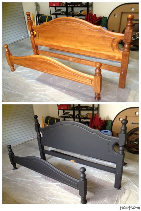 Decided to paint my boring old wooden bed matte black ...