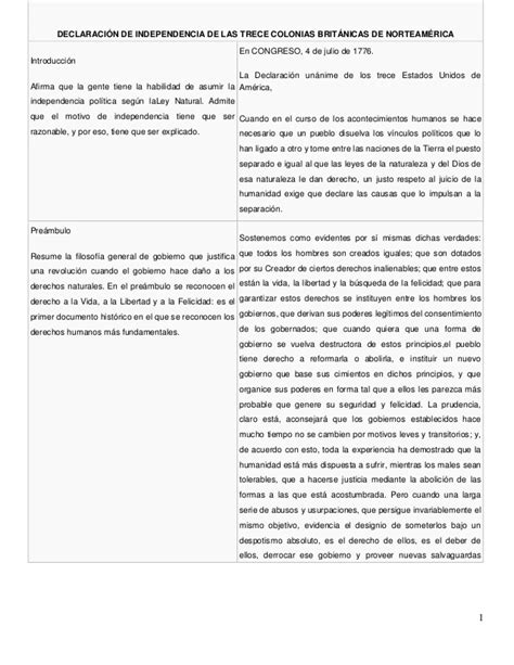 Declaración de Independencia de las Trece Colonias ...