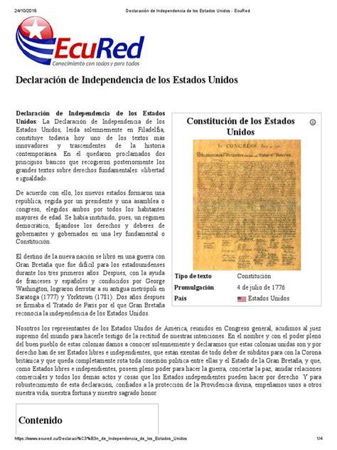 Declaración de Independencia de Los Estados Unidos ...