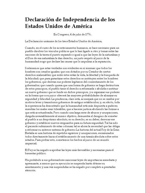 Declaracion Independencia Estados Unidos 1776 + Carta ...