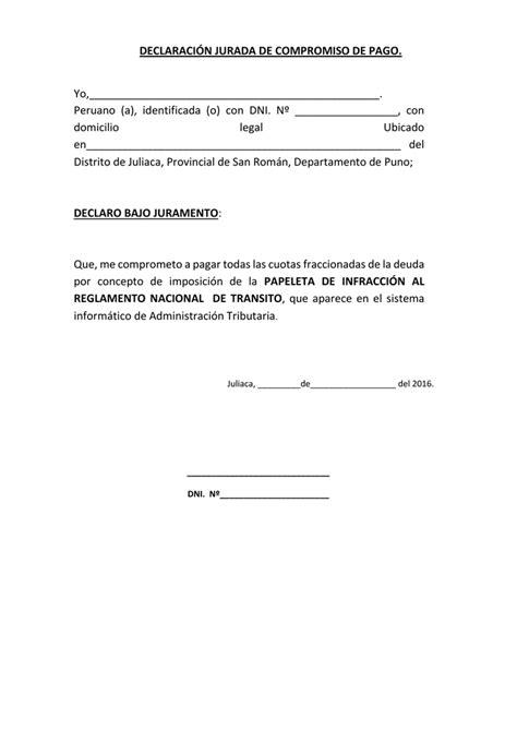 DECLARACIÓN JURADA DE COMPROMISO DE PAGO. Yo