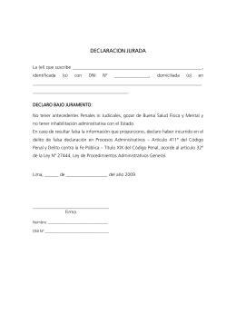 declaración jurada de no tener antecedentes penales ni ...