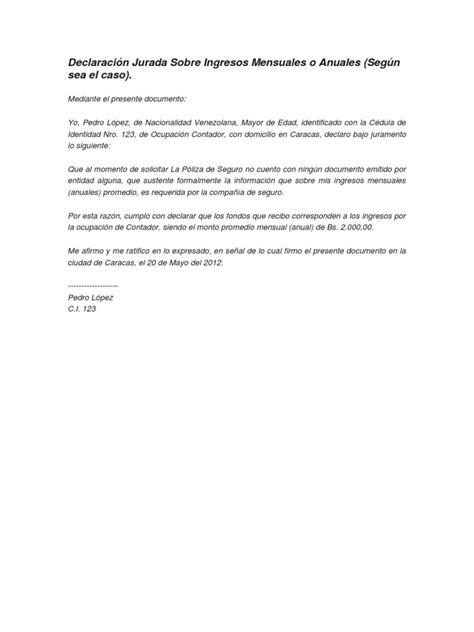 Declaración Jurada Sobre Ingresos Mensuales o Anuales