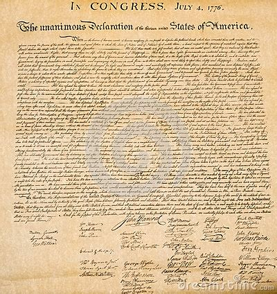 Declaration Of Independence 4th July 1776 Close Up Stock ...