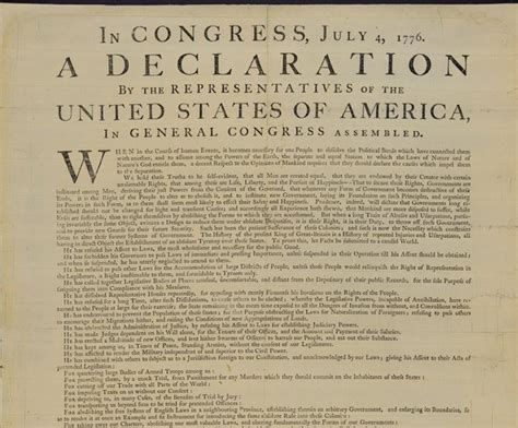 Declaration of Independence. In Congress, July 4, 1776, a ...