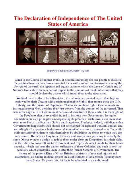 Declaration of Independence   United States of America