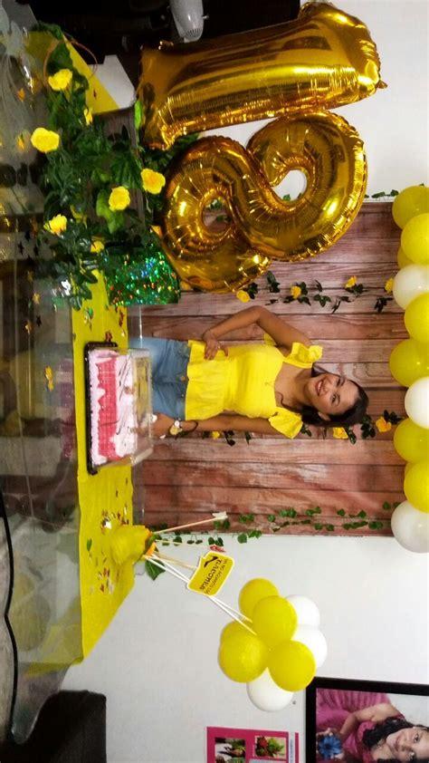 #decoración #cumpleaños #amarillo #18 #flores #globos # ...