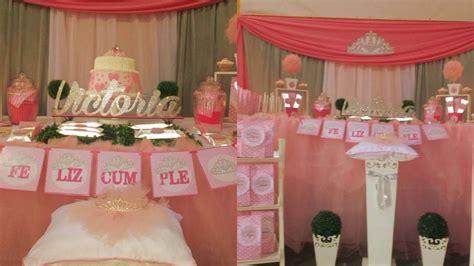 Decoración cumpleaños princesa coronitas rosadas   YouTube
