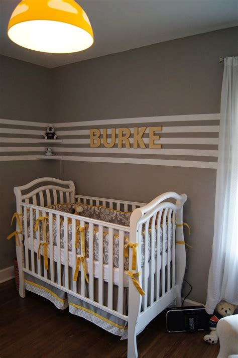 Decoración de dormitorios para bebés en amarillo gris ...