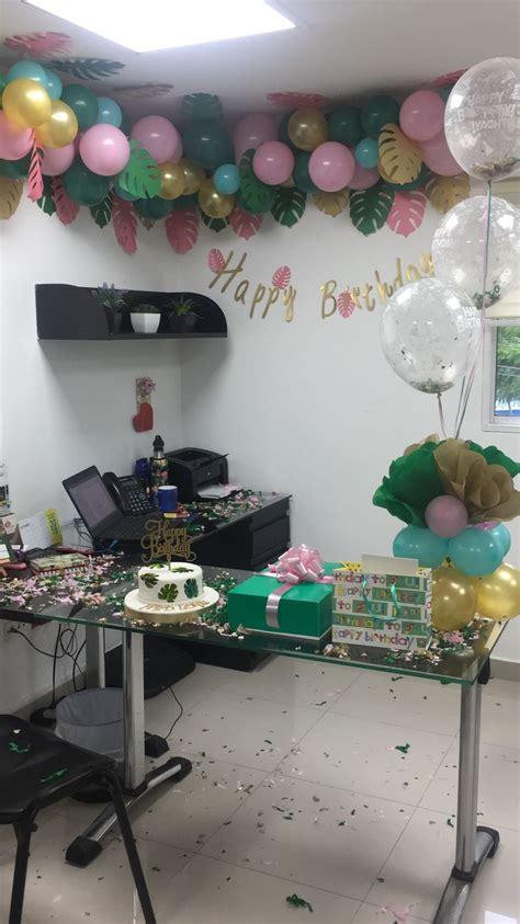Decoración motivo tropical oficina cumpleaños mujer ...