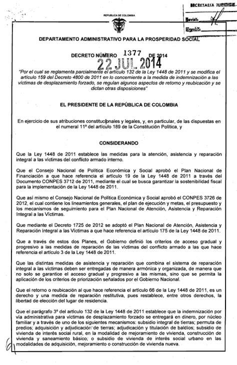 Decreto 1377 de 2014 | Unidad para las Víctimas