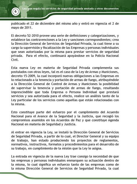 Decreto 52 2010 ley que regula los servicios de seguridad ...