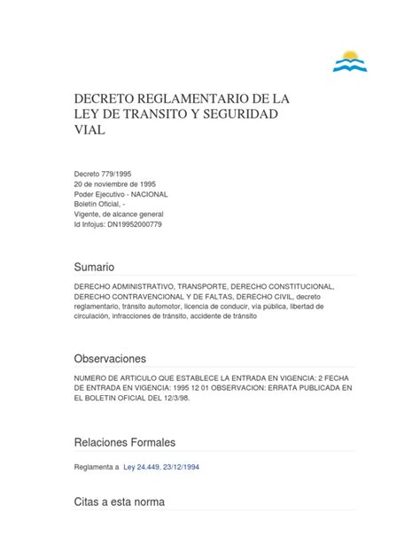 DECRETO REGLAMENTARIO DE LA LEY DE TRANSITO Y SEGURIDAD ...