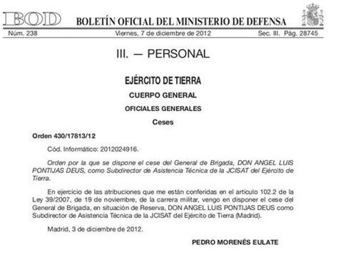 Defensa hace oficial el cese del general Pontijas por su ...