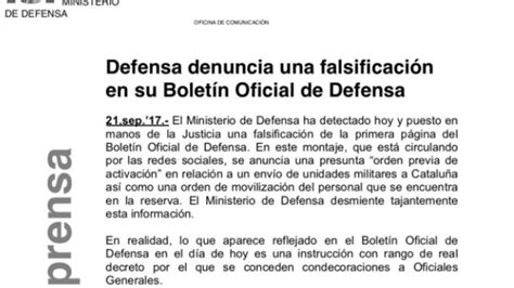 Defensa sufre una falsificación de su boletín oficial que ...