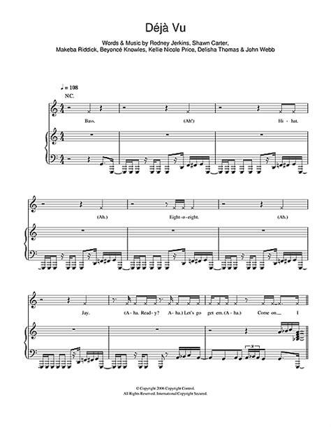 Deja Vu sheet music by Beyoncé  Piano, Vocal & Guitar ...