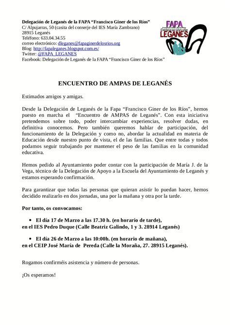 DELEGACIÓN: ENCUENTRO DE AMPAS DE LEGANÉS