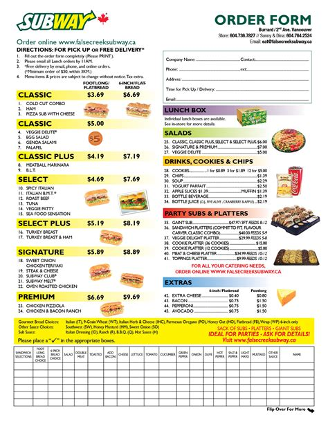 Deli Sandwich Order Form Template Pictures to Pin on ...