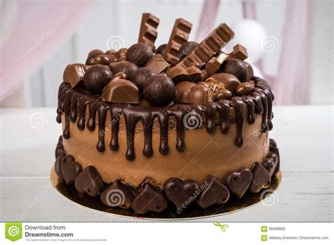 Delicious Chocolate Cake Handmade Decorated With Chocolate ...