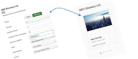 Demostración del artículo del SEO Glossary Joomla
