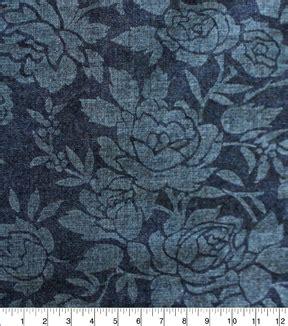 Denim Fabric   Rose Embossed Blue Denim | JOANN