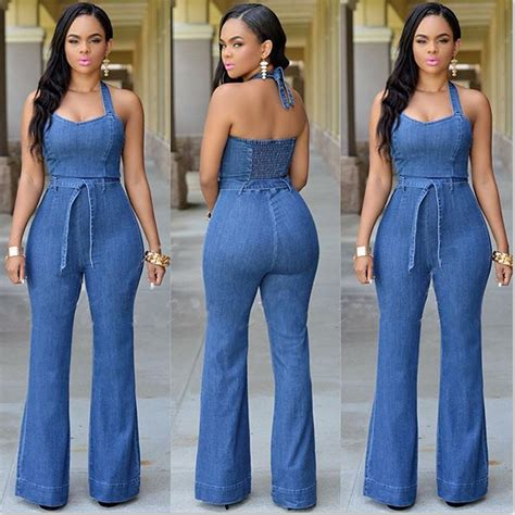 Denim Jumpsuit Jeans Long Pant Halter Wide Leg Backless ...