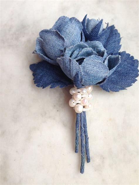 Denim rose brooch denim wedding roses denim by ...