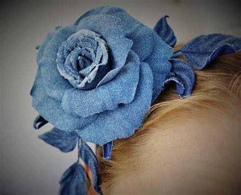 Denim rose hairpiece, denim wedding, jeans flower ...
