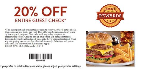 Denny's 20% Off Coupon Through January 18   Free Printable ...