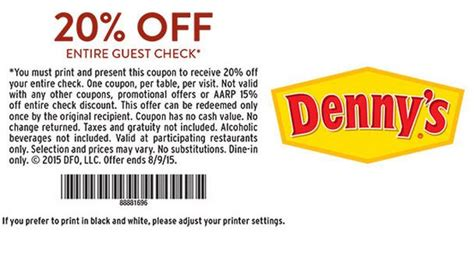 Denny's 20% Off Coupon Through September 9   Free ...
