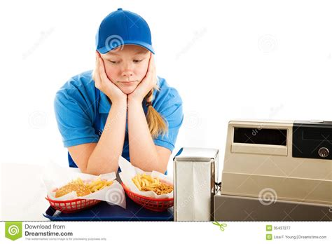 Depressed Teen Fast Food Server Stock Image   Image of out ...