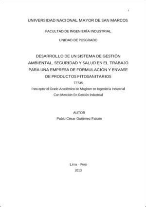 Desarrollo de un sistema de gestión ambiental, seguridad y ...