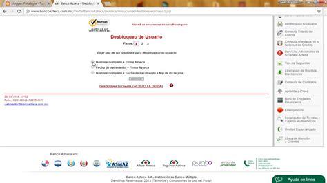 Desbloquea Usuario y/o Contraseña   Banco Azteca ...