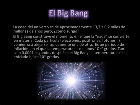 Desde el big bang hasta formación de la tierra