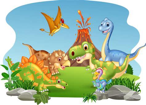 Desenhos animados dinossauros felizes na selva | Vetor Premium